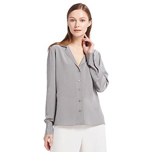 Button-down-bluse Aus Seide (LilySilk Seide Hemd Damen Blusen Shirts Oberteil Top Elegant von 18 Momme (Perlgrau, S) Verpackung MEHRWEG)