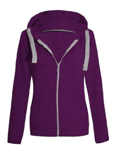 New Apparel Veste à capuche entièrement zippée à capuche pour femme Taille 34 à 42 Rouge - Corail
