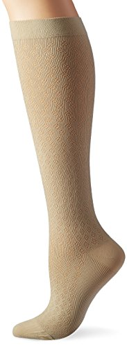 Activa H2702 Sheer Therapy Frauen Diamant-Muster Hose Socken 15-20 mmHg - Size & Color-Tan Medium -