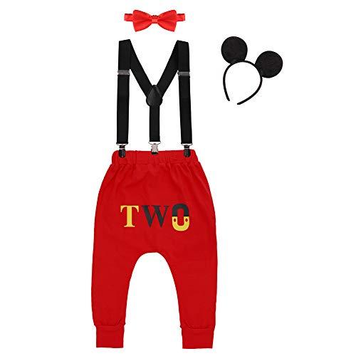 IWEMEK Baby 1. / 2. Geburtstag Kostüm Jungen Mouse Karneval Cosplay Outfit Hosenträger Lange Hosen mit Fliege Maus Ohren Stirnband 4pcs Bekleidungssets Fotoshooting Halloween 05 18-24 Monate (24 Monate Halloween-kostüm)