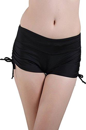 Schwimmshorts Badeshorts Damen UV Schutz Bikinihose Schwarz