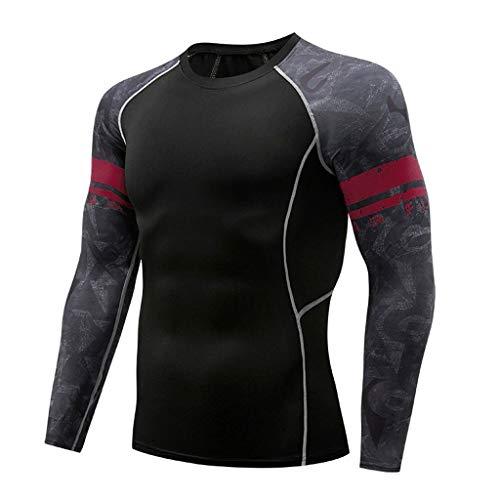 Strungten Herren Langarmshirt Fitness Sport Bluse Rundhals Hemd Jogging Yoga Top Tuniken Männer Beiläufig Herbst Winter Langarm-T-Shirt Speed Dry Top Kompressionshemden Rundhals-T-Shirts