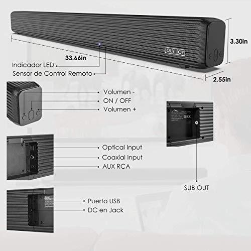 41TGcOxRMfL - Barra de Sonido, Wellwerks 95W Altavoz de Audio para TV Bluetooth V4.2 [Conexiones Alámbrico/Inalámbrico] Bluetooth Sound-Bar Subwoofer para TV/Computer/Video/Music,etc. (95W)