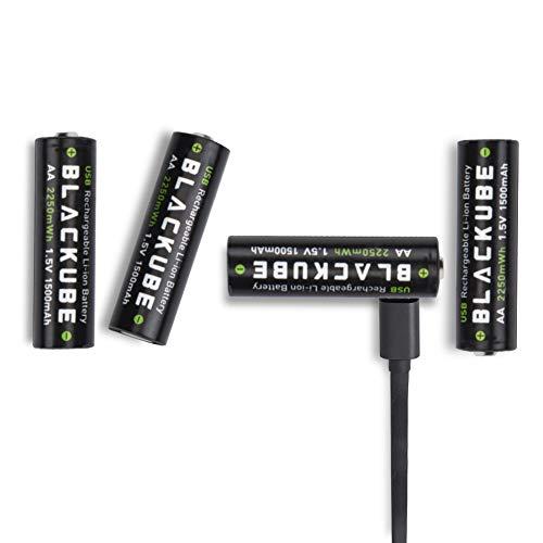 Blackube AA Wiederaufladbarer Akku 1.5V/2250mWh- 1.5 Stunden USB Aufladung- Lithiumion Batterie- Kein Gedächtniseffekt 1000+ Zyklen (4 Stück