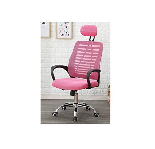 WJJP Hoher Rücken Drehstuhl,Ergonomischer Computerstuhl Sessellift,Bürostühle mit Armlehnen und Rückenlehne,Verstellbare Kopfstütze,mit Lordosenstütze,Atmungsaktiver Netzrücken (Farbe : Pink)