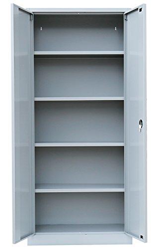 Flügeltürenschrank Schrank Stahl Stahlblech Lagerschrank Aktenschrank Büroschrank Werkzeugschrank 4 Fachböden/4,5 OH/Maße: 1800x800x380mm 530330 kompl. montiert und verschweißt - 4