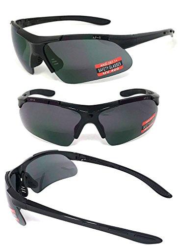 VeryHobby Inner Bifokalwillen Sicherheit Lesebrille Lesen Sonnenbrille Uv400 Ap + S Ansi Z87.1 + 1 1.5 Rauch-Objektiv