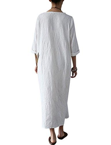 Youlee Damen Frühling Sommer Blume bedruckt Baumwollkleid White