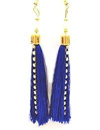 [Sponsored]Silk Thread Tassels Earring Royal Blue