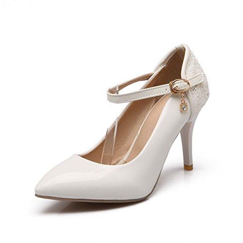 VogueZone009 Femme Boucle Pointu à Talon Haut Pu Cuir Couleurs Mélangées Chaussures Légeres Blanc