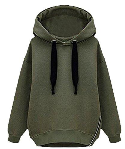 Minetom Donne Autunno Inverno Sweatshirts Moda Felpe Con Cappuccio Manica Lunga Hoodied Giacche Cappotti Verde IT 42