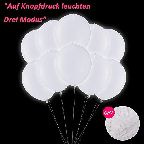 LED Luftballons Weiße, LED Leuchten Ballon Luftballons Hochzeit Weiss, Luftballons Geburtstag 30 Stück für Weihnachten Fasching Valentinstag Party Deko TECHSHARE (LED-Ballon mit ()