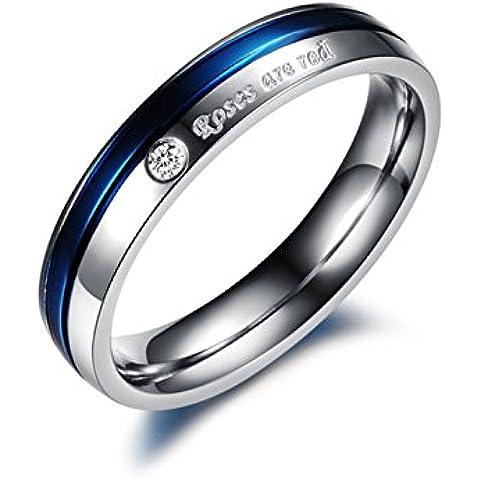 MunkiMix 4mm Acero Inoxidable Banda Venda Anillo Ring Cz Cubic Zirconia Circonita Plata Azul San valentin Amor Love Pareja Promesa Compromiso Alianzas Boda Mujer