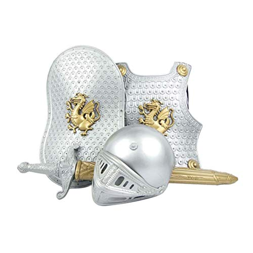 Shining Kostüm Knight Armor - NUOBESTY Kinderkostüme Set Halloween Kostüm Battle Armor Warrior Props (White Dragon)