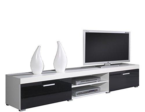 Tv Schrank Tv Lowboard SAMBA Hochglanz (Weiß / Schwarz Hochglanz)