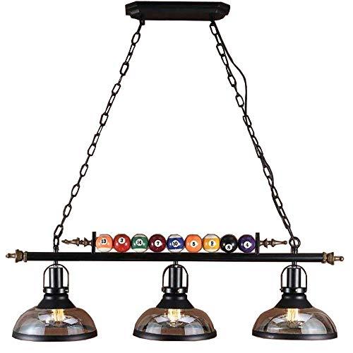 Billard Dekor 3 Lichter Kronleuchter für Billard Hall, Restaurant, Café, Bar, Club, Schlafzimmer Beleuchtung, nordischen Stil Schmiedeeisen Pendelleuchte schwarze Farbe -