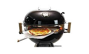 Moesta-BBQ 10084 Smokin' Ring - Set per pizza - Perfetta pizza dal barbecue sferico - con pala per pizza, pietra per pizza, teglia per pizza e termometro, per barbecue con diametro di 60 cm