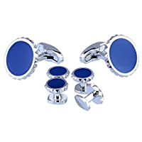 Salutto Men's Cufflinks and Studs Set for Formal French Shirt With Gift Box (GearNavy)