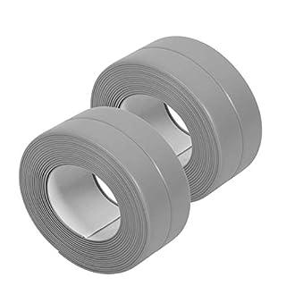 Tub and Wall Sealing Caulk Strip Wall and Corner Self Adhesive Peel and Caulk Strip Fixture Tape Caulk Sealer Tub Surround Waterproof Decorative Sealer Trim Pack of 2 (Grey)
