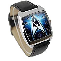 TAPORT® STAR TREK Quartz SQUARE Watch Black Real Leather Band +FREE SPARE BATTERY+FREE GIFT BAG