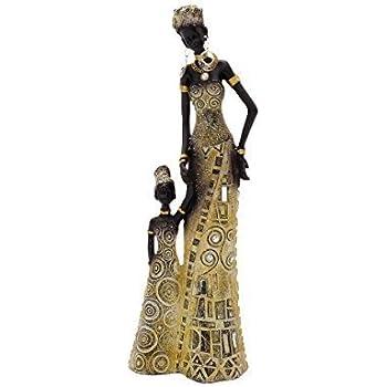 2 wunderschöne große afrikanische Frauen 35 cm Skulptur Afrikanerin Massai