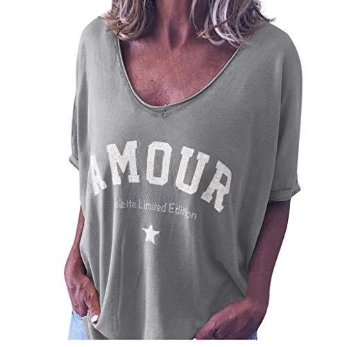 DressLksnf Damen Briefdruck T-Shirt Sommer Loose Kurzarm V-Ausschnitt Oberteile Bluse Tops Lockere Oberteile Casual Shirts Oversize Shirt Lässiges Oberteile -