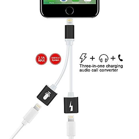 Dreamerd 2en 1adaptateur de Lightning pour iPhone 7/7Plus, double Lightning prise jack pour casque audio et câble de charge pour Chagring, d