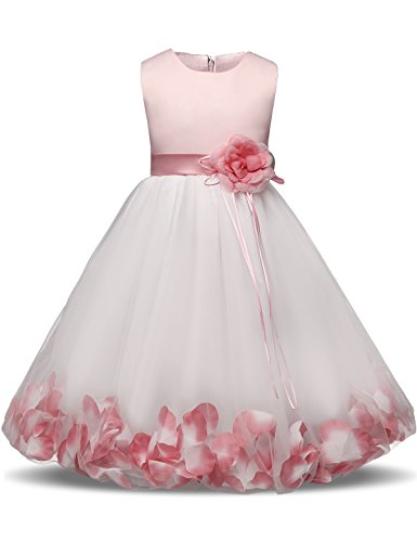 68e2350f560c NNJXD Girl Flower Petal Bowknot Christening Wedding Bridesmaid Formal Party  Dress Size(150) 7