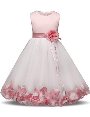 NNJXD Mädchen Tutu Blütenblätter Schleife Brautkleid für Kleinkind Mädchen Größe 7-8 Jahre Großes Rosa