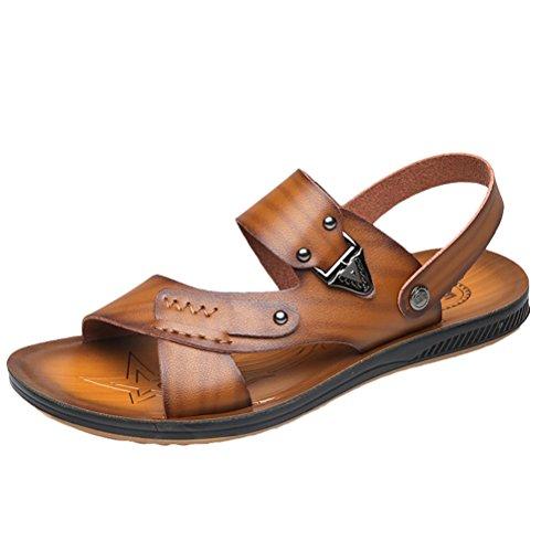 Vogstyle Homme Chaussure été Sandales Cuir Souple Sandales de Plage Tongs Pantoufles Style 2 Kaki