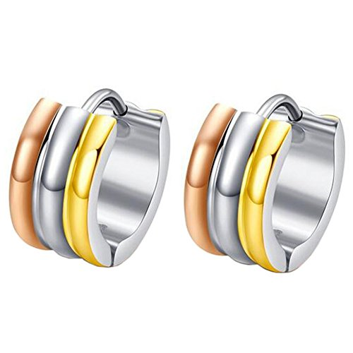 MG Jewelry Edelstahl Herren Damen Unisex Dreifarbige klein Hoop Huggie Ohrringe, hypoallergen, 7mm (14k White Gold Huggies-ohrringe)