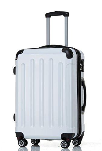 BEIBYE Hartschalen Koffer Trolley Rollkoffer Reisekoffer 4 Zwillingsrollen Polycabonat (Weiß, 66cm - 70L)
