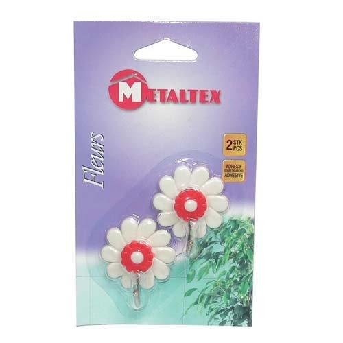 metaltex-292001-fleurs-crochet-adhesif-plastique-multicolore-2-pieces