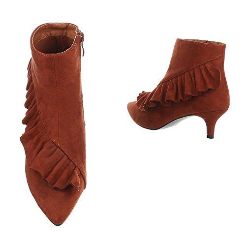 Klassische Stiefeletten Damenschuhe Klassische Stiefeletten Kleiner Trichter Moderne Reißverschluss Ital-Design Stiefeletten Orange G-46