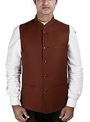 La Rainbow Mens Cotton Bandhgala Modi Jacket-Brown (44)
