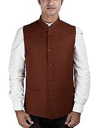 La Rainbow Mens Cotton Bandhgala Modi Jacket-Brown