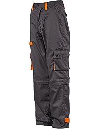 Desman® - Pantalones estilo cargo para hombre - Gris / naranja