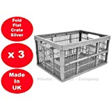 3 x 32 Litre Foldable Crate Plastic Storage Box Basket