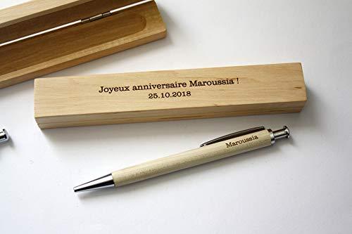 Bolígrafo personalizado con nombre y caja tallada en madera, grabado con tu texto. Regalo personalizado Ideal aniversario, Navidad, jubilación.