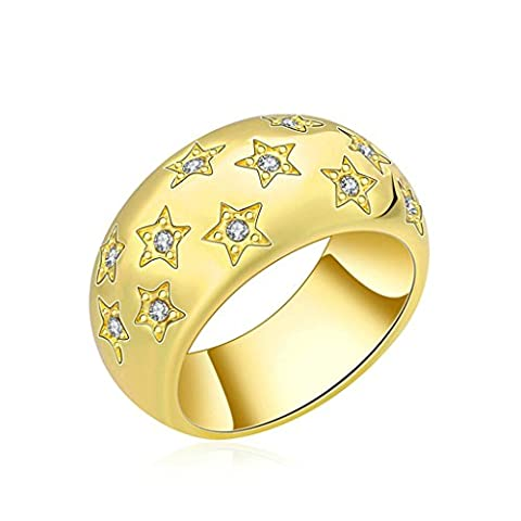 Epinki Womens Friendship Ring Modern Shiny Star Pattern With Cubic Zirconia Gold Size N 1/2 Ring