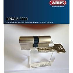 ABUS Bravus, 4000 Cilindro doble de seguridad con 5 llaves 40/55 mm longitud con tarjeta de seguridad/protección mayor tasa Copy/de emergencia y riesgo función de mayor protección contra taladradora y extracción BS01 (extracción protección Core solo)