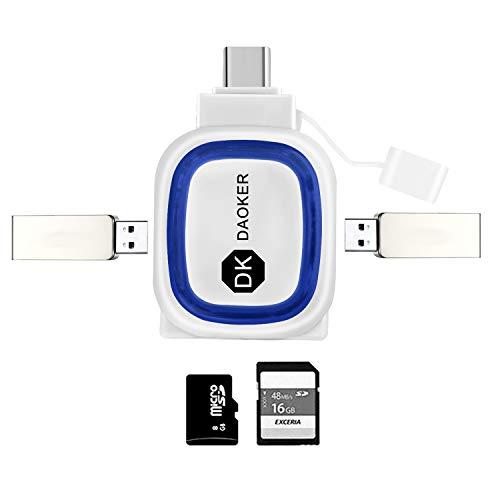 DAOKER Tragbarer USB-C-Kartenleser für SDXC, SDHC, SD, MMC, RS-MMC, Micro SDXC, Micro SD, Micro SDHC-Karte und UHS-I-Karten | Doppelte USB-A-Wandleranschlüsse
