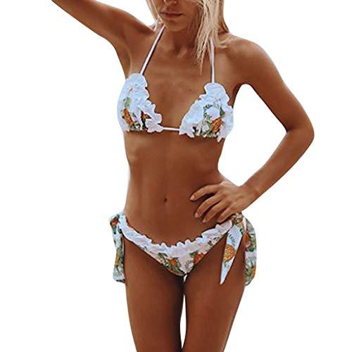 Geilisungren Badeanzug Damen Sexy Push up Bandeau BH Schlankheits Bikini Set Strandmode Schwimmanzug Frauen Blumendruck Strand Bademode Zweiteilig Badeanzüge Badebekleidung Strandkleidung