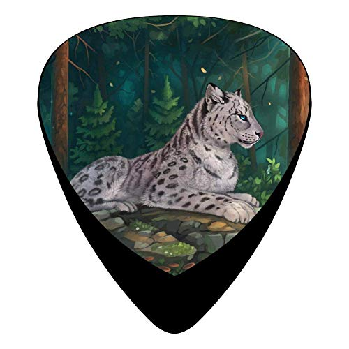 Snow Leopard Guitar Picks Celluloid Print Boys Complete Assorted 12 Pack -