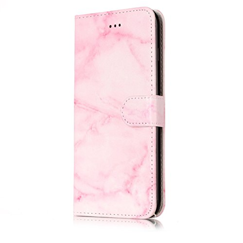 Custodia iPhone 7 Plus,iPhone 7 Plus Custodia in pelle,Felfy Belle Colorato Dipinto Elegante Lusso Rigida Fantasia Design Stand Flip PU pelle Portafoglio/Wallet Cuoio/Libro Bookstyle Leather Case per  Marmo Rosa