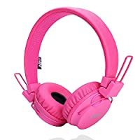 Wired Kids Headphone with Microphone, Foldable Headset for Children Toddler by Ellien (Pink)