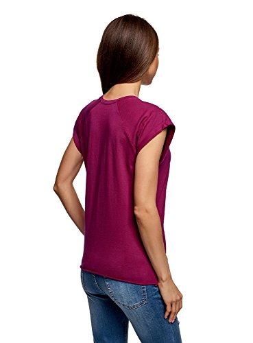 oodji Ultra Donna T-Shirt in Cotone Basic Viola (4C00N)