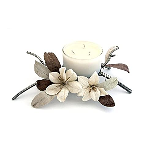 Candle Holder Decorative Dining Table Centrepiece Gift Idea For Women By Clair De Lune - Marsala Flower Theme - Triple Wick Single Candle - Brown / Cream - Made From Glass / Metal /