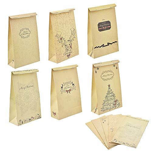 Godagoda Set de 6PCS Sac de Cadeau Noël Sac Bonbons Biscuits Cookies Chocolats Sac Pochette Sachet Sac Alimentaires