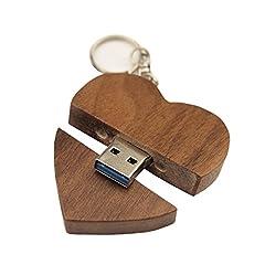 Idea Regalo - FeliSun Cuore in legno personalizzato USB3.0 Flash Drive Pendrive 128GB 64 GB 32 GB 16 GB ad alta velocità U Disk Memory Stick Storage esterno Fotografia Regali di nozze
